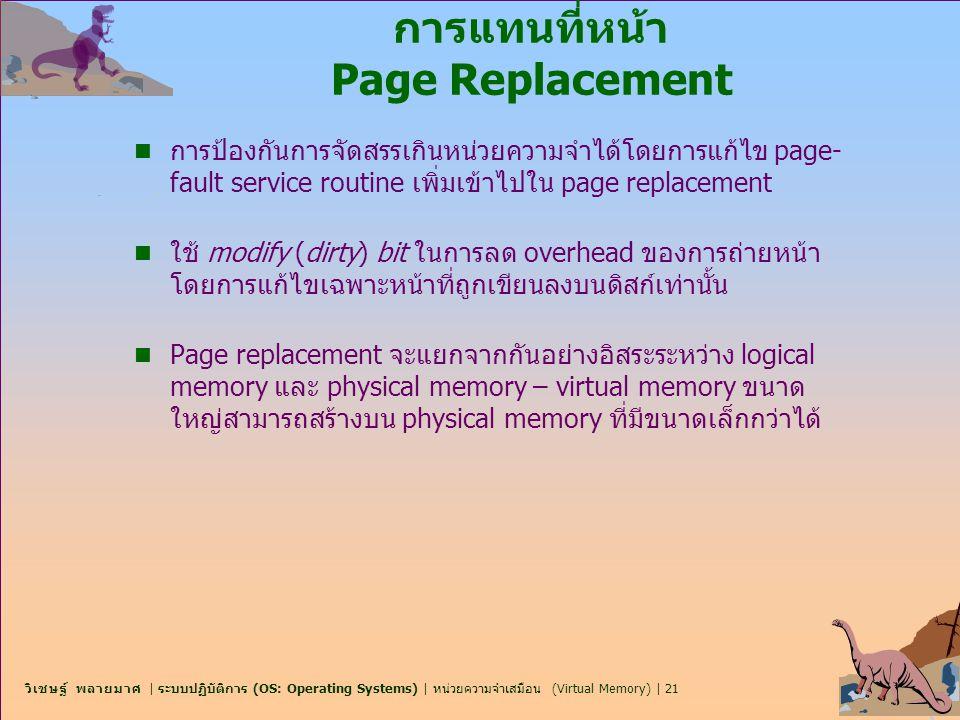 วิเชษฐ์ พลายมาศ | ระบบปฏิบัติการ (OS: Operating Systems) | หน่วยความจำเสมือน (Virtual Memory) | 21 การแทนที่หน้า Page Replacement n การป้องกันการจัดสร