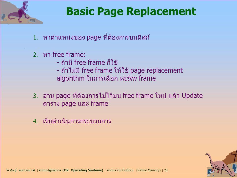 วิเชษฐ์ พลายมาศ | ระบบปฏิบัติการ (OS: Operating Systems) | หน่วยความจำเสมือน (Virtual Memory) | 23 Basic Page Replacement 1. หาตำแหน่งของ page ที่ต้อง