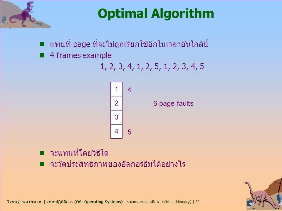 วิเชษฐ์ พลายมาศ | ระบบปฏิบัติการ (OS: Operating Systems) | หน่วยความจำเสมือน (Virtual Memory) | 30 Optimal Algorithm n แทนที่ page ที่จะไม่ถูกเรียกใช้