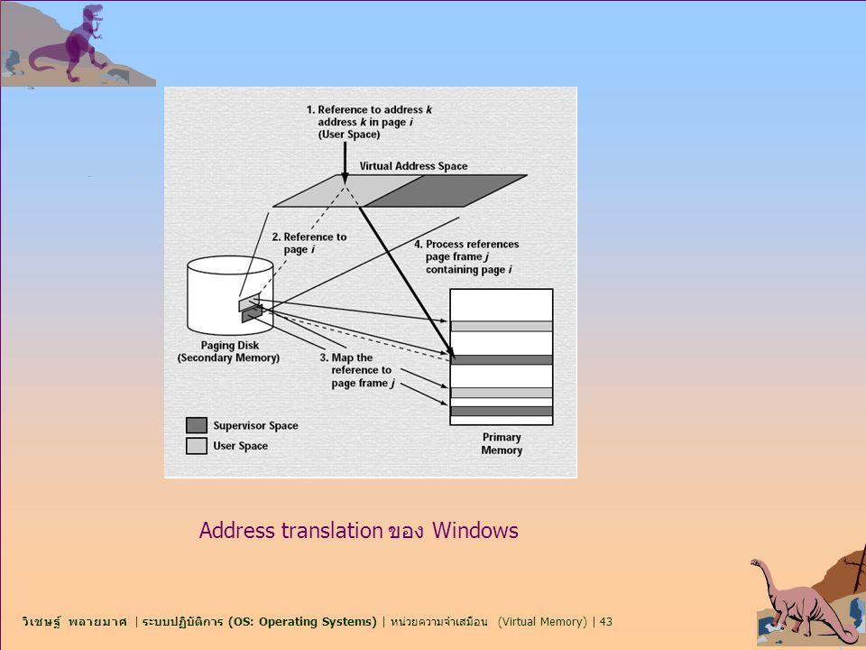 วิเชษฐ์ พลายมาศ | ระบบปฏิบัติการ (OS: Operating Systems) | หน่วยความจำเสมือน (Virtual Memory) | 43 Address translation ของ Windows