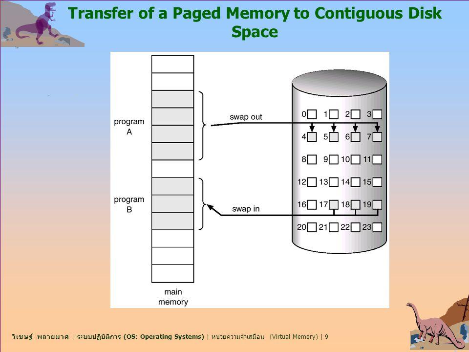 วิเชษฐ์ พลายมาศ | ระบบปฏิบัติการ (OS: Operating Systems) | หน่วยความจำเสมือน (Virtual Memory) | 10 Valid-Invalid Bit n จะมี valid–invalid bit เชื่อมโยงอยู่ในแต่ละรายการ page table (1  in-memory, 0  not-in-memory) n ต้องกำหนดค่าเริ่มต้น valid–invalid เป็น 0 ทุกรายการ (entries) n Example of a page table snapshot.