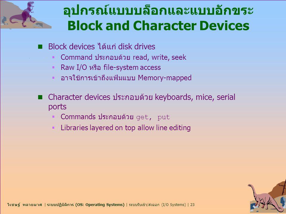 วิเชษฐ์ พลายมาศ | ระบบปฏิบัติการ (OS: Operating Systems) | ระบบรับเข้า/ส่งออก (I/O Systems) | 23 อุปกรณ์แบบบล็อกและแบบอักขระ Block and Character Devic