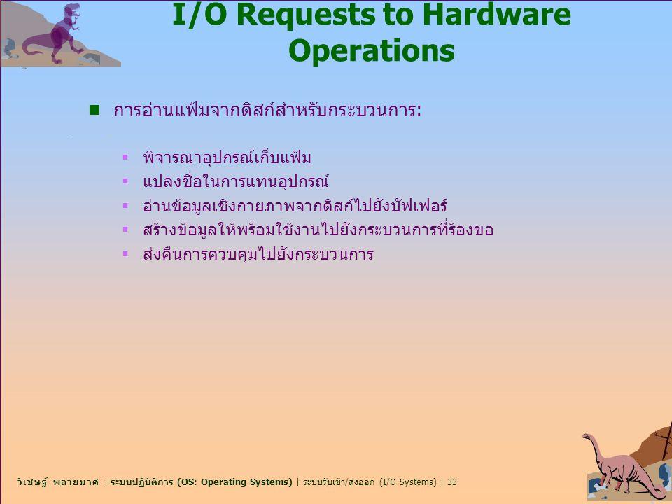 วิเชษฐ์ พลายมาศ | ระบบปฏิบัติการ (OS: Operating Systems) | ระบบรับเข้า/ส่งออก (I/O Systems) | 33 I/O Requests to Hardware Operations n การอ่านแฟ้มจากด