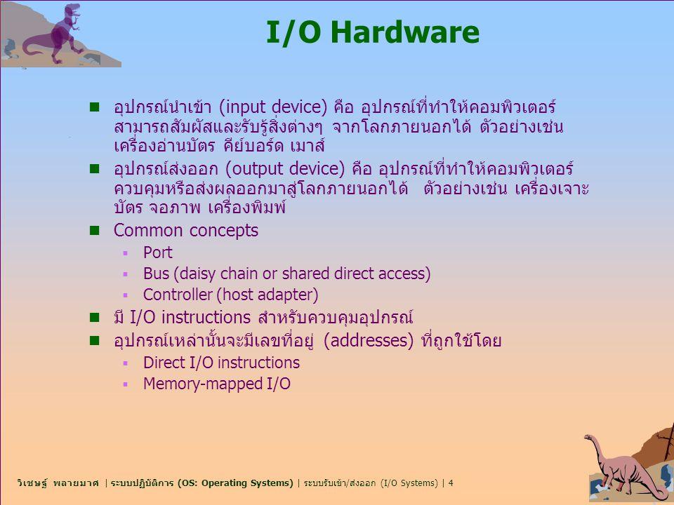 วิเชษฐ์ พลายมาศ | ระบบปฏิบัติการ (OS: Operating Systems) | ระบบรับเข้า/ส่งออก (I/O Systems) | 4 I/O Hardware n อุปกรณ์นำเข้า (input device) คือ อุปกรณ