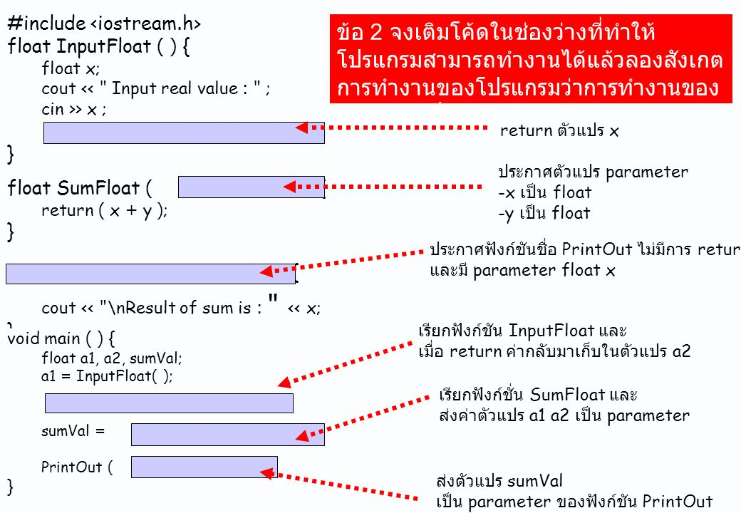 #include float InputFloat ( ) { float x; cout <<