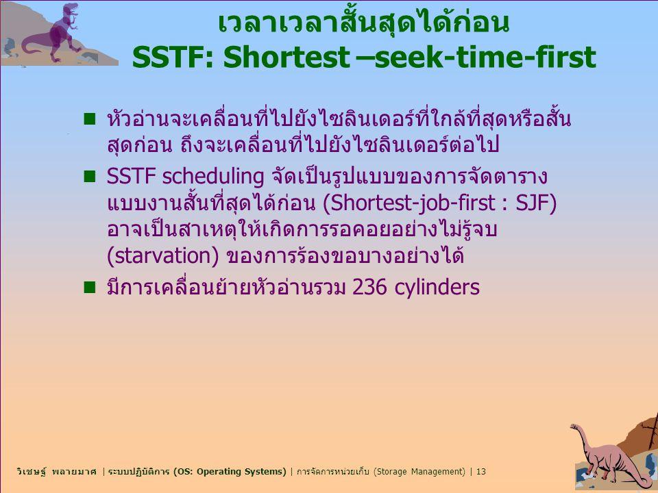 วิเชษฐ์ พลายมาศ | ระบบปฏิบัติการ (OS: Operating Systems) | การจัดการหน่วยเก็บ (Storage Management) | 13 เวลาเวลาสั้นสุดได้ก่อน SSTF: Shortest –seek-ti