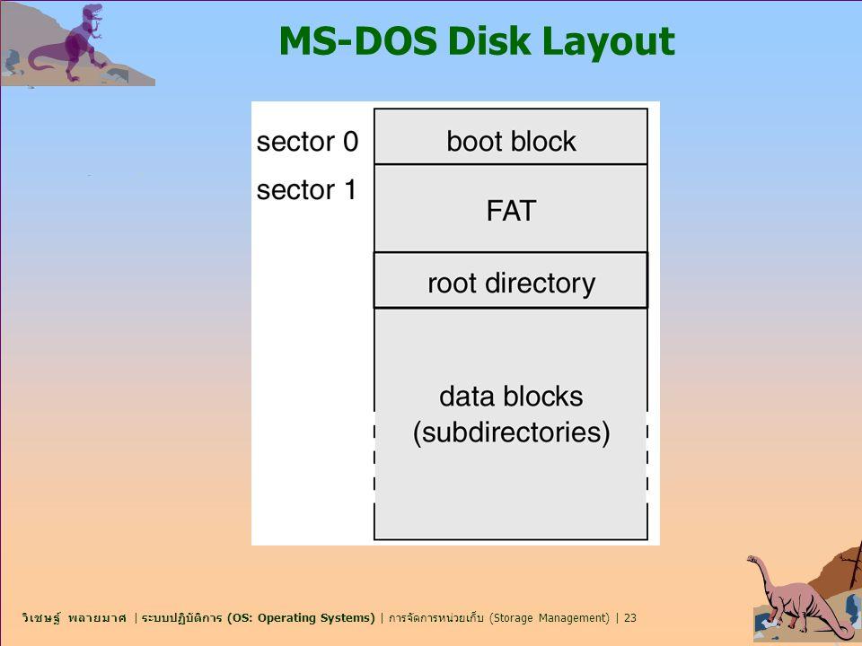 วิเชษฐ์ พลายมาศ | ระบบปฏิบัติการ (OS: Operating Systems) | การจัดการหน่วยเก็บ (Storage Management) | 23 MS-DOS Disk Layout