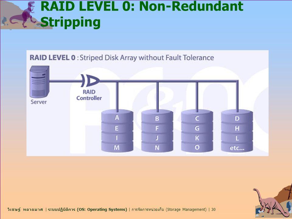 วิเชษฐ์ พลายมาศ | ระบบปฏิบัติการ (OS: Operating Systems) | การจัดการหน่วยเก็บ (Storage Management) | 30 RAID LEVEL 0: Non-Redundant Stripping