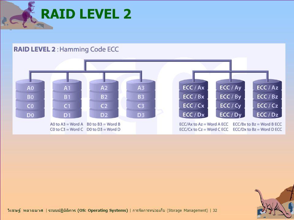 วิเชษฐ์ พลายมาศ | ระบบปฏิบัติการ (OS: Operating Systems) | การจัดการหน่วยเก็บ (Storage Management) | 32 RAID LEVEL 2