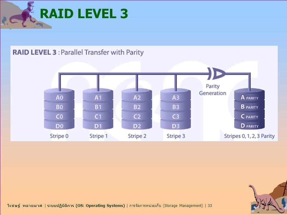 วิเชษฐ์ พลายมาศ | ระบบปฏิบัติการ (OS: Operating Systems) | การจัดการหน่วยเก็บ (Storage Management) | 33 RAID LEVEL 3