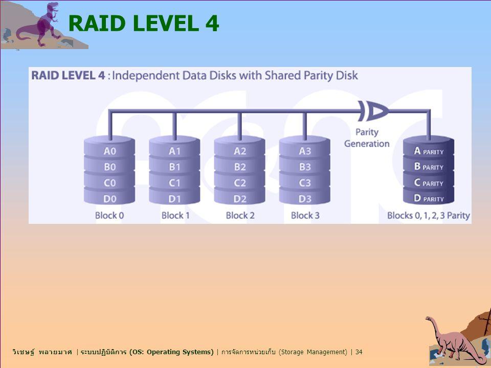 วิเชษฐ์ พลายมาศ | ระบบปฏิบัติการ (OS: Operating Systems) | การจัดการหน่วยเก็บ (Storage Management) | 34 RAID LEVEL 4