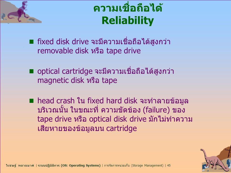 วิเชษฐ์ พลายมาศ | ระบบปฏิบัติการ (OS: Operating Systems) | การจัดการหน่วยเก็บ (Storage Management) | 45 ความเชื่อถือได้ Reliability n fixed disk drive