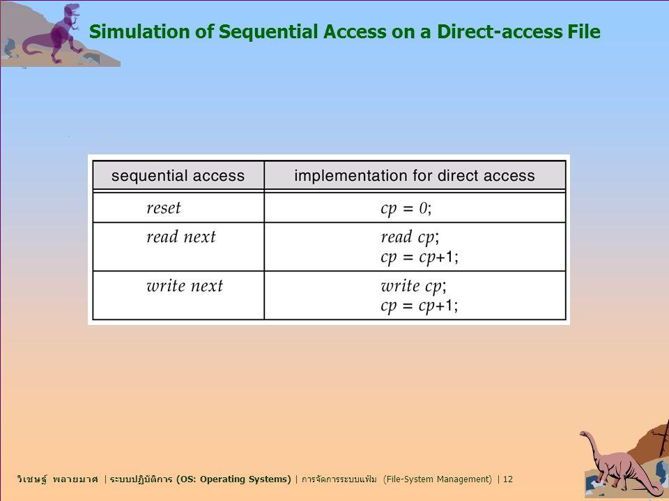 วิเชษฐ์ พลายมาศ   ระบบปฏิบัติการ (OS: Operating Systems)   การจัดการระบบแฟ้ม (File-System Management)   12 Simulation of Sequential Access on a Direct