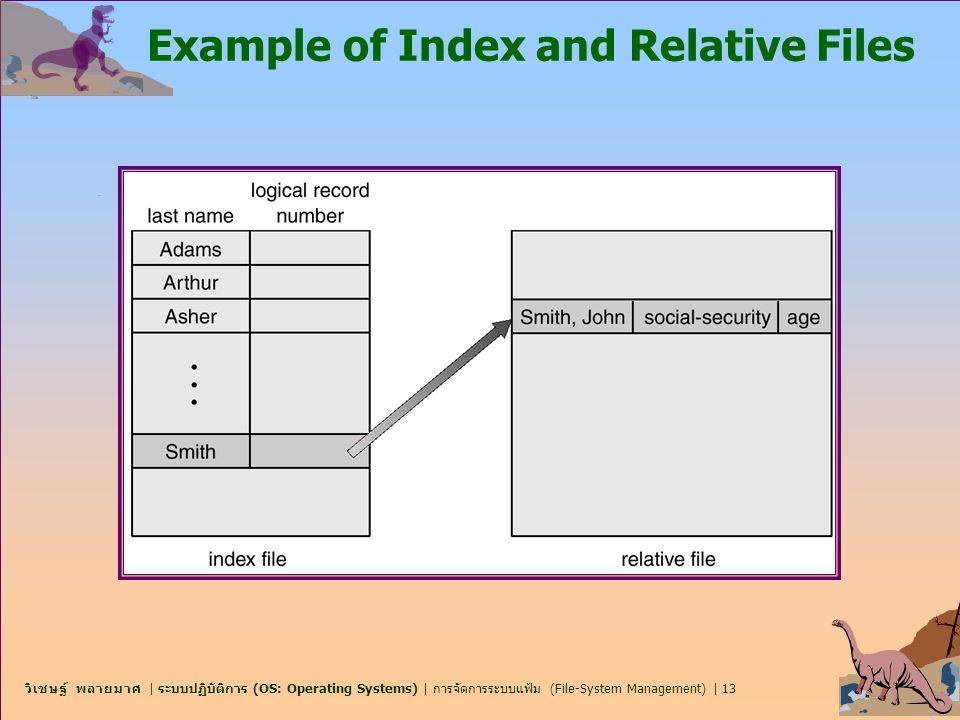 วิเชษฐ์ พลายมาศ   ระบบปฏิบัติการ (OS: Operating Systems)   การจัดการระบบแฟ้ม (File-System Management)   13 Example of Index and Relative Files