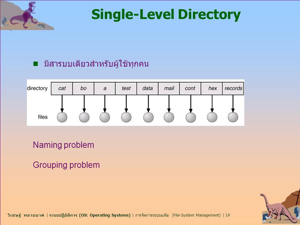 วิเชษฐ์ พลายมาศ   ระบบปฏิบัติการ (OS: Operating Systems)   การจัดการระบบแฟ้ม (File-System Management)   19 Single-Level Directory n มีสารบบเดียวสำหรับ