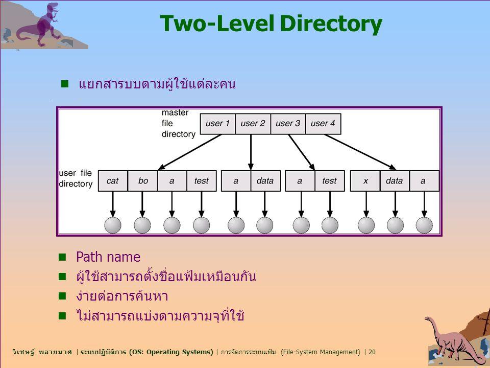 วิเชษฐ์ พลายมาศ   ระบบปฏิบัติการ (OS: Operating Systems)   การจัดการระบบแฟ้ม (File-System Management)   20 Two-Level Directory n แยกสารบบตามผู้ใช้แต่ล