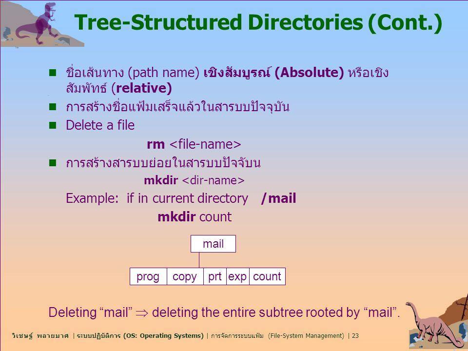 วิเชษฐ์ พลายมาศ   ระบบปฏิบัติการ (OS: Operating Systems)   การจัดการระบบแฟ้ม (File-System Management)   23 Tree-Structured Directories (Cont.) n ชื่อเ