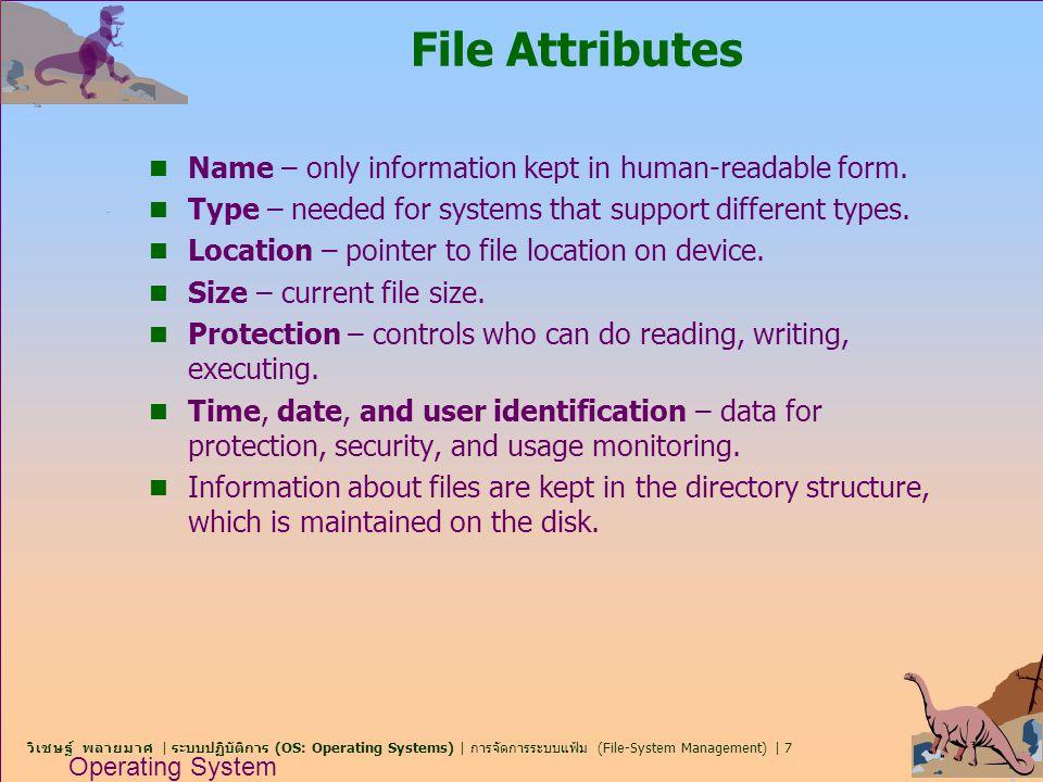 วิเชษฐ์ พลายมาศ | ระบบปฏิบัติการ (OS: Operating Systems) | การจัดการระบบแฟ้ม (File-System Management) | 8 Operating System Concepts File Operations n Create n Write n Read n Reposition within file – file seek n Delete n Truncate n Open(F i ) – search the directory structure on disk for entry F i, and move the content of entry to memory.