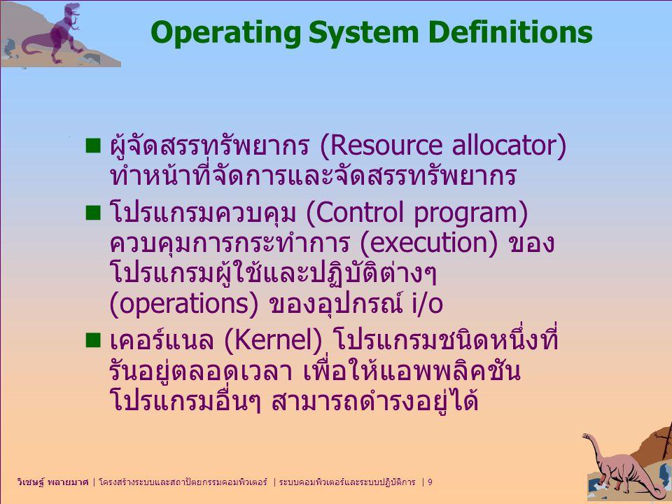 วิเชษฐ์ พลายมาศ   โครงสร้างระบบและสถาปัตยกรรมคอมพิวเตอร์   ระบบคอมพิวเตอร์และระบบปฏิบัติการ   30 Time-Sharing Systems (cont.) n หน่วยเก็บเสมือน (virtual storage)  เป็นเทคนิคในการแบ่งปันหน่วยความจำเพื่อให้สามารถ กระทำการกับหลายโปรแกรมได้อย่างมีประสิทธิภาพ บางทีเรียกว่าหน่วยความจำเสมือน (virtual memory)  โดยวิธีการแบ่งส่วนของโปรแกรมออกเป็นสองส่วน ส่วนแรกจะเก็บเฉพาะส่วนที่จำเป็นสำหรับการกระทำ การไว้ในหน่วยความจำหลักจึงเรียกส่วนนี้ว่า หน่วยเก็บ จริง (real storage) และส่วนที่เหลือจะเก็บไว้ในหน่วย เก็บรอง เช่นดิสก์ จึงเรียกส่วนนี้ว่า หน่วยเก็บเสมือน (virtual storage)  โดยที่โปรแกรมประยุกต์จะถูกแบ่งออกเป็นส่วนๆ ลงใน หน้า (page) ซึ่งมีขนาดคงที่ หรือ ส่วน (segment) ซึ่ง มีขนาดที่แปรเปลี่ยนได้