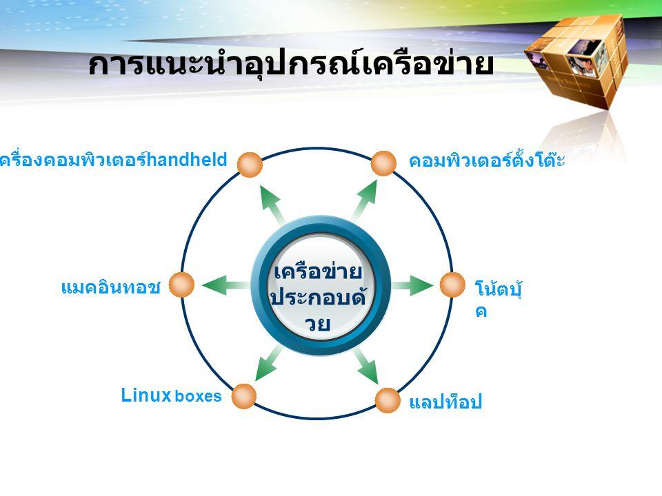การแนะนำซอฟต์แวร์เครือข่าย เครือข่ายโดยทั่วไปมีซอฟต์แวร์เครือข่ายพื้นฐานที่ ต้องการอยู่แล้ว อย่างเช่น วินโดว์ แมคอินทอช และลีนุกซ์ เป็นเครือข่าย พร้อมใช้มีภาษาคอมพิวเตอร์ที่ใช้ในติดต่อสื่อสาร เรียกว่า โปรโตคอล