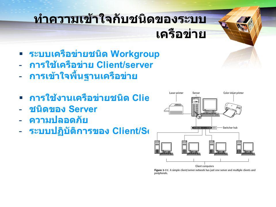 ทำความเข้าใจกับชนิดของระบบ เครือข่าย  ระบบเครือข่ายชนิด Workgroup - การใช้เครือข่าย Client/server - การเข้าใจพื้นฐานเครือข่าย  การใช้งานเครือข่ายชนิด Client/Server - ชนิดของ Server - ความปลอดภัย - ระบบปฏิบัติการของ Client/Server