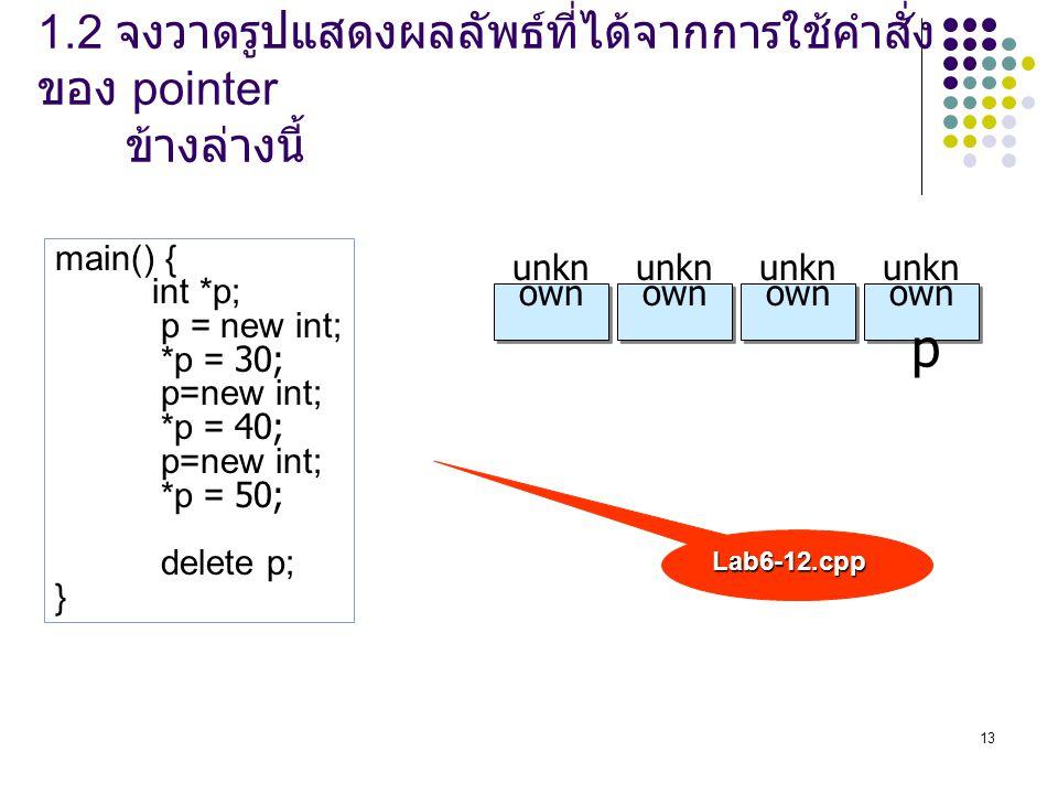 13 main() { int *p; p = new int; *p = 30; p=new int; *p = 40; p=new int; *p = 50; delete p; } unkn own p Lab6-12.cpp 1.2 จงวาดรูปแสดงผลลัพธ์ที่ได้จากก