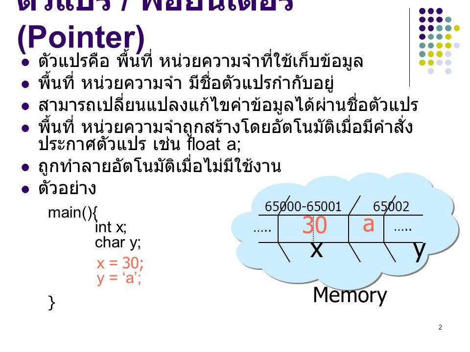 2 Memory 65000-65001 65002 x y ….. ตัวแปร / พอยน์เตอร์ (Pointer) ตัวแปรคือ พื้นที่ หน่วยความจำที่ใช้เก็บข้อมูล พื้นที่ หน่วยความจำ มีชื่อตัวแปรกำกับอย