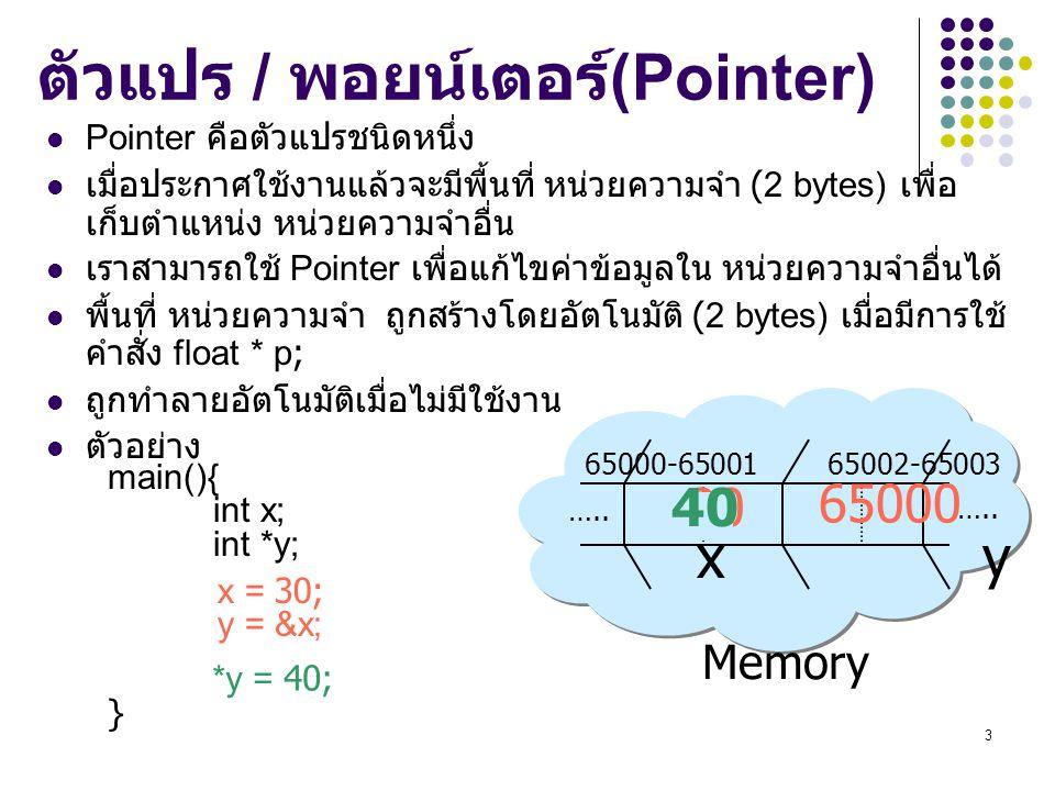 3 Memory 65000-65001 65002-65003 x y ….. ตัวแปร / พอยน์เตอร์ (Pointer) Pointer คือตัวแปรชนิดหนึ่ง เมื่อประกาศใช้งานแล้วจะมีพื้นที่ หน่วยความจำ (2 byte