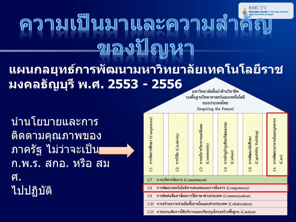 แผนกลยุทธ์การพัฒนามหาวิทยาลัยเทคโนโลยีราช มงคลธัญบุรี พ. ศ. 2553 - 2556 นำนโยบายและการ ติดตามคุณภาพของ ภาครัฐ ไม่ว่าจะเป็น ก. พ. ร. สกอ. หรือ สม ศ. ไป