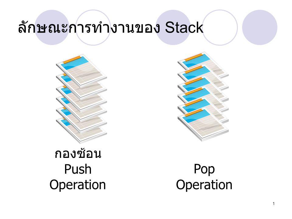 1 ลักษณะการทำงานของ Stack กองซ้อน Push Operation Pop Operation