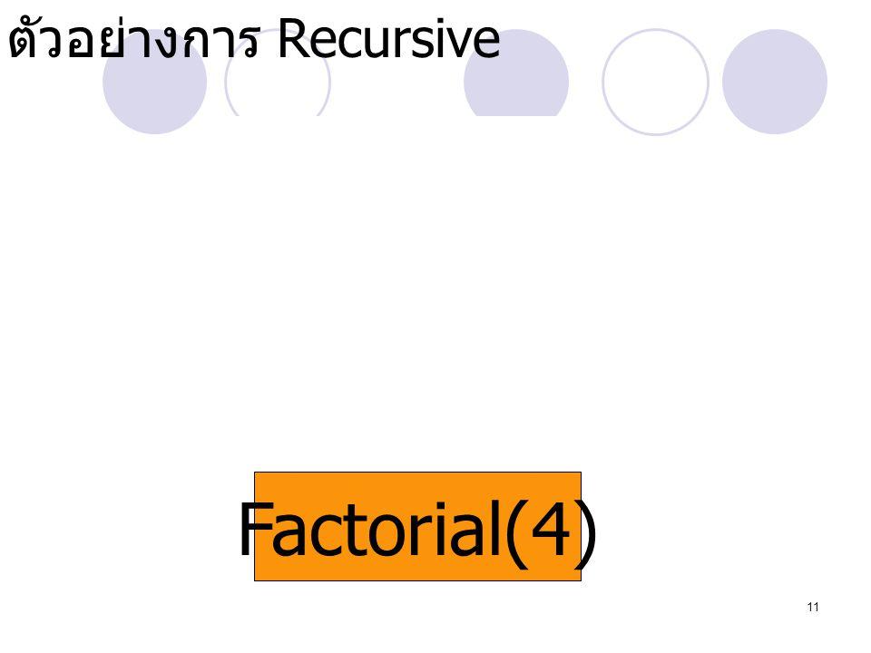 11 Factorial(4) Factorial(0) Factorial(1) Factorial(2) Factorial(3) ตัวอย่างการ Recursive