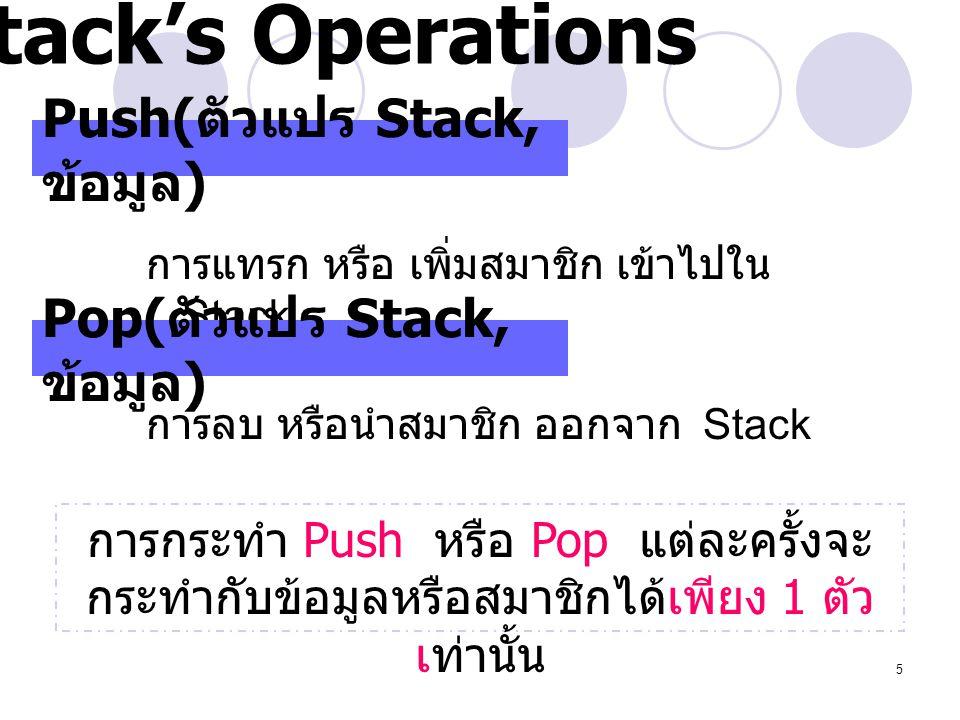 5 Push( ตัวแปร Stack, ข้อมูล ) การแทรก หรือ เพิ่มสมาชิก เข้าไปใน Stack Pop( ตัวแปร Stack, ข้อมูล ) การลบ หรือนำสมาชิก ออกจาก Stack การกระทำ Push หรือ
