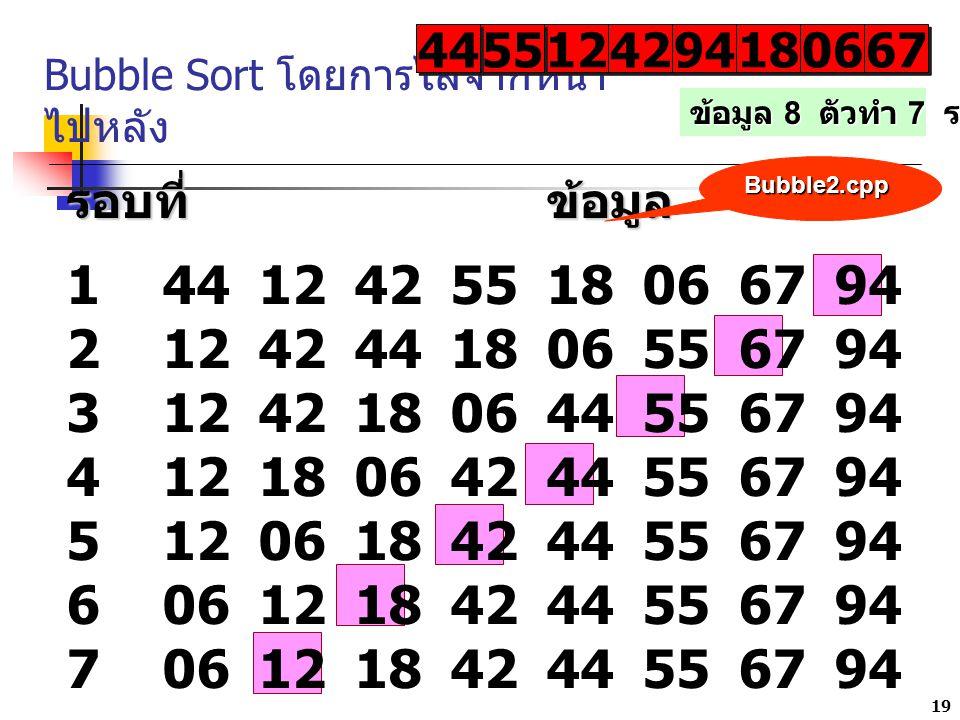 19 Bubble Sort โดยการไล่จากหน้า ไปหลัง 12 42 9494 9494 1818 1818 0606 0606 6767 6767 รอบที่ข้อมูล 14412425518066794 21242441806556794 3124218064455679