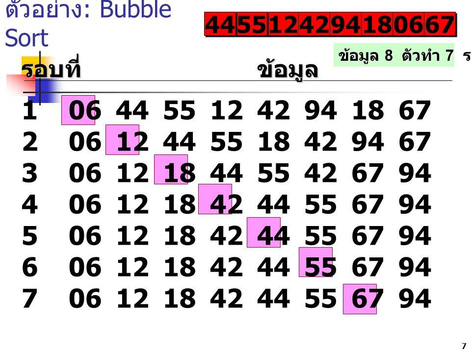 7 ตัวอย่าง : Bubble Sort 12 42 9494 9494 1818 1818 0606 0606 6767 6767 รอบที่ข้อมูล 10644551242941867 20612445518429467 30612184455426794 406121842445