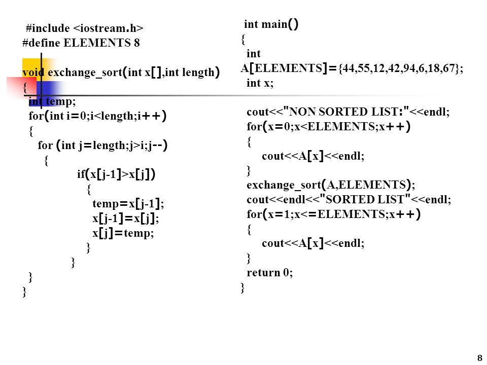 9 การจัดเรียงแบบแทรก (Insertion Sort) เป็นการจัดเรียงโดยการนำข้อมูลที่จะทำการเรียง นั้น ๆ ไปจัดเรียงทีละตัว โดยการแทรกตัวที่จะเรียงไว้ในตำแหน่งที่ เหมาะสมของข้อมูลที่มีการจัดเรียงเรียบร้อยแล้ว ณ ตำแหน่งที่ถูกต้อง วิธีการลักษณะนี้จะคล้ายกับการหยิบไพ่ขึ้นมา เรียงทีละใบ ซึ่ง ไพ่ใบแรกจะไม่ต้องสนใจอะไร แต่เมื่อหยิบไพ่ใบที่ 2 ก็จะต้องพิจารณาว่าจะไว้ก่อน หรือไว้หลังใบแรก และเช่นเดียวกัน เมื่อหยิบไพ่ใบถัด ๆ มา ก็จะต้อง พิจารณาว่าจะวางใบตำแหน่งใดเพื่อให้เกิดการ เรียงลำดับ จนกระทั่งหมด