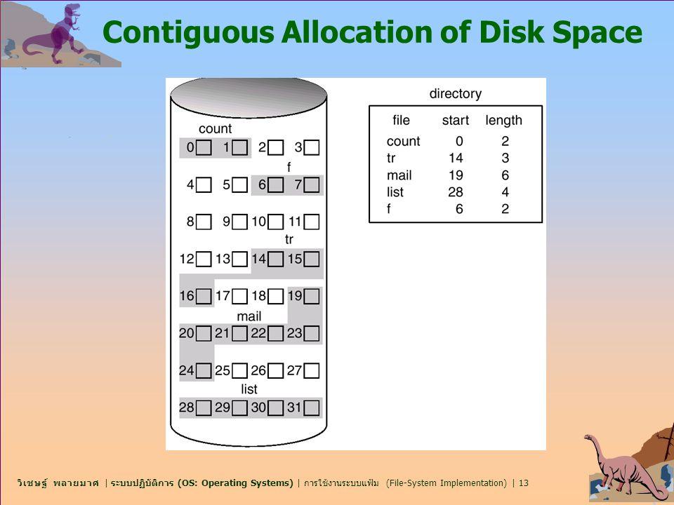 วิเชษฐ์ พลายมาศ | ระบบปฏิบัติการ (OS: Operating Systems) | การใช้งานระบบแฟ้ม (File-System Implementation) | 13 Contiguous Allocation of Disk Space