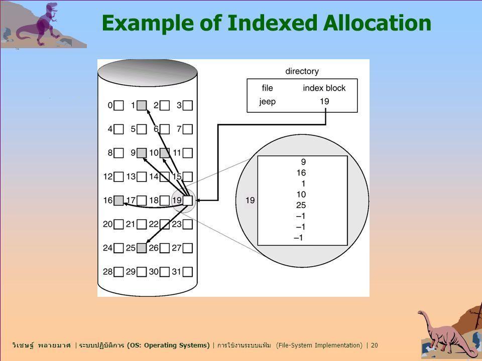 วิเชษฐ์ พลายมาศ | ระบบปฏิบัติการ (OS: Operating Systems) | การใช้งานระบบแฟ้ม (File-System Implementation) | 20 Example of Indexed Allocation