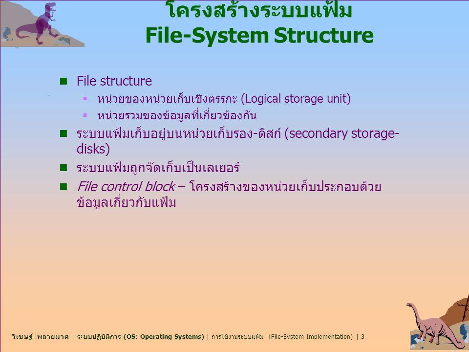 วิเชษฐ์ พลายมาศ | ระบบปฏิบัติการ (OS: Operating Systems) | การใช้งานระบบแฟ้ม (File-System Implementation) | 14 ระบบขยาย Extent-Based Systems n มีระบบแฟ้มใหม่ๆ จำนวนมาก (I.e.