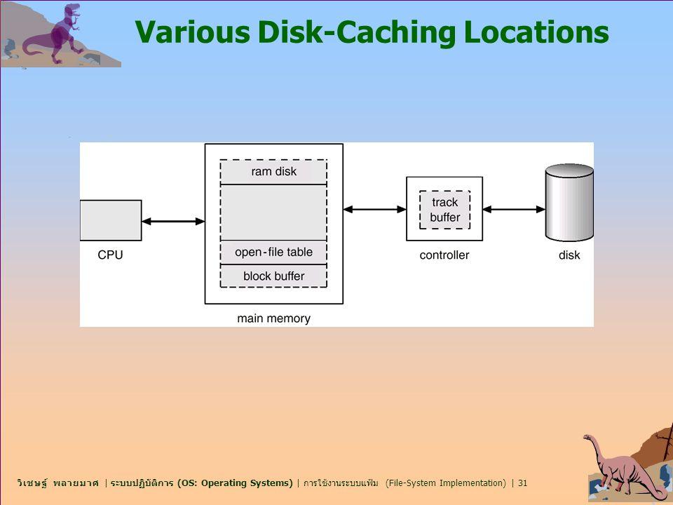วิเชษฐ์ พลายมาศ | ระบบปฏิบัติการ (OS: Operating Systems) | การใช้งานระบบแฟ้ม (File-System Implementation) | 31 Various Disk-Caching Locations