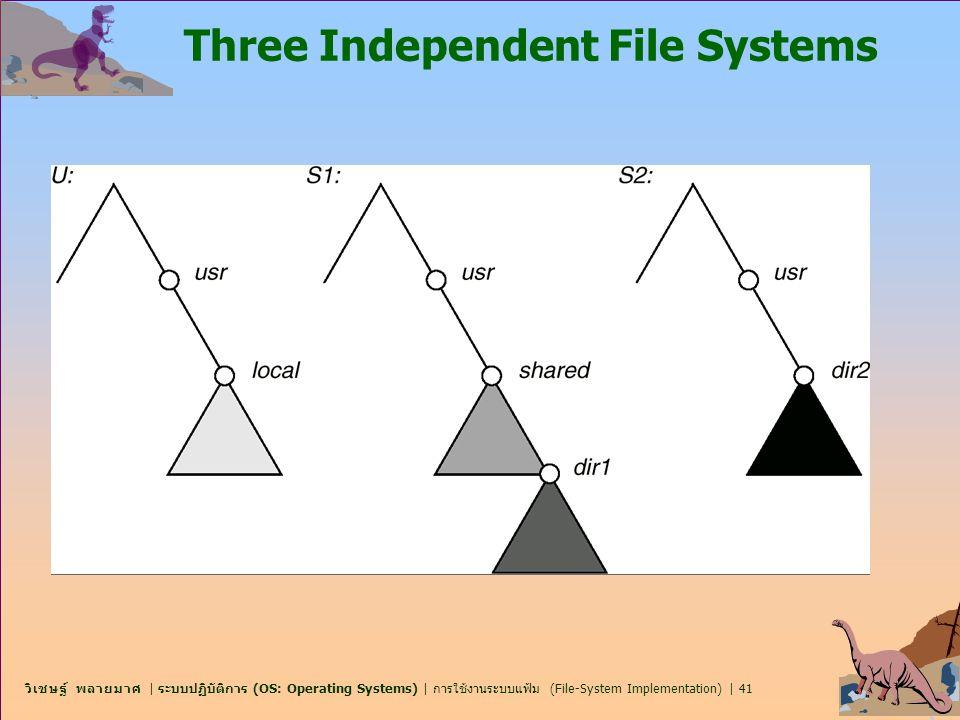 วิเชษฐ์ พลายมาศ | ระบบปฏิบัติการ (OS: Operating Systems) | การใช้งานระบบแฟ้ม (File-System Implementation) | 41 Three Independent File Systems