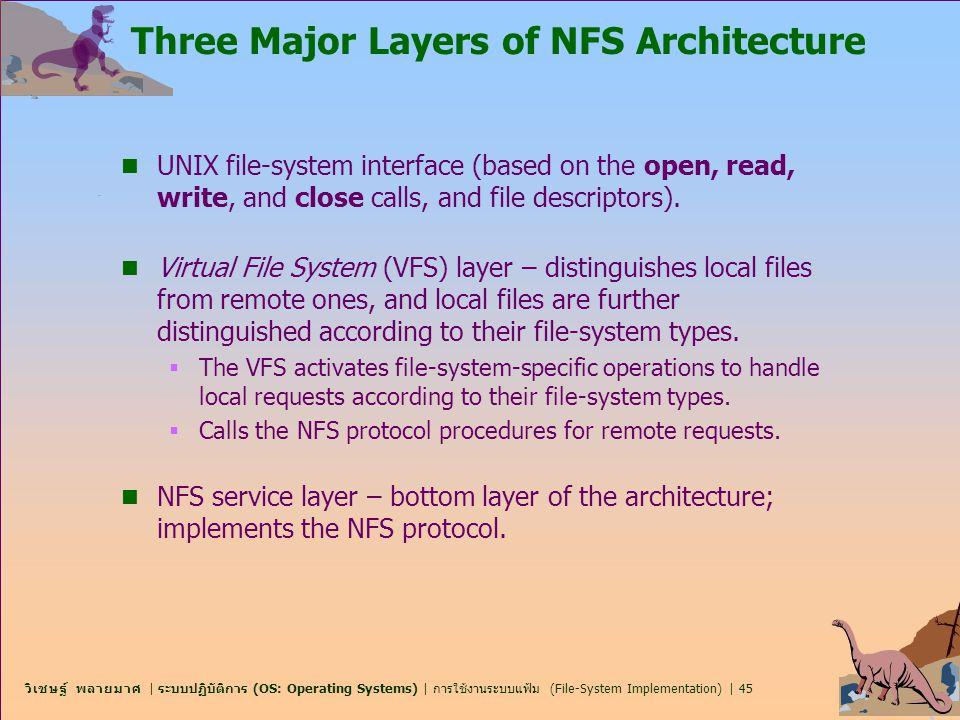 วิเชษฐ์ พลายมาศ | ระบบปฏิบัติการ (OS: Operating Systems) | การใช้งานระบบแฟ้ม (File-System Implementation) | 45 Three Major Layers of NFS Architecture