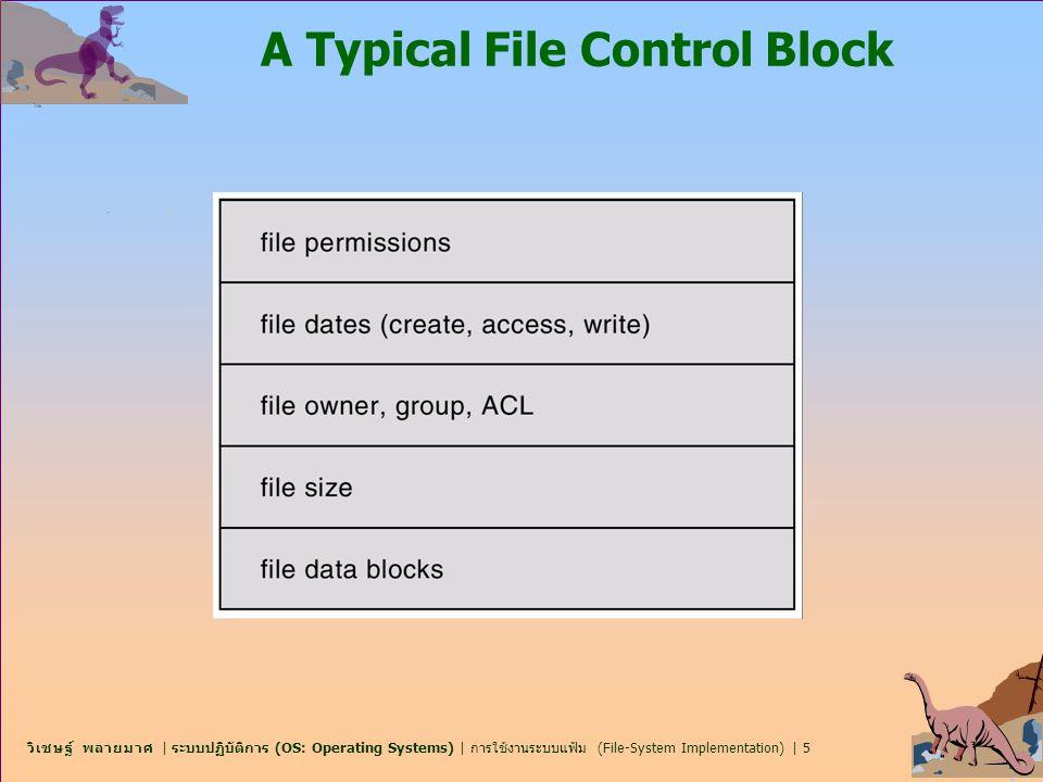 วิเชษฐ์ พลายมาศ | ระบบปฏิบัติการ (OS: Operating Systems) | การใช้งานระบบแฟ้ม (File-System Implementation) | 6 โครงสร้างระบบแฟ้มในหน่วยความจำ In-Memory File System Structures n ภาพต่อไปนี้ใช้แสดงถึงโครงสร้างที่จำเป็นของระบบแฟ้มที่ จัดเตรียมไว้โดย OS n Figure 12-3(a) อ้างถึงการเปิดแฟ้ม n Figure 12-3(b) อ้างถึงการอ่านแฟ้ม