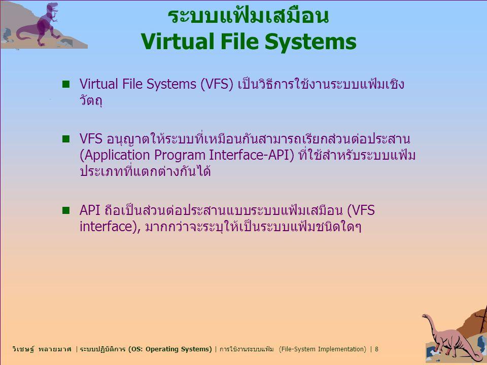 วิเชษฐ์ พลายมาศ | ระบบปฏิบัติการ (OS: Operating Systems) | การใช้งานระบบแฟ้ม (File-System Implementation) | 39 NFS (Cont.) n Interconnected workstations viewed as a set of independent machines with independent file systems, which allows sharing among these file systems in a transparent manner.