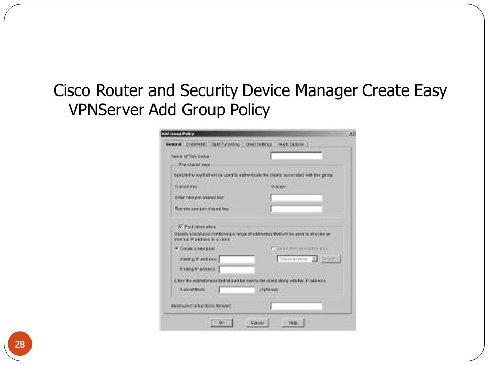 Cisco Router and Security Device Manager Create Easy VPN Server Add Group Policy DNS/WINS 29