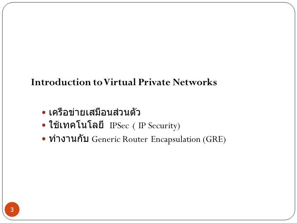 Introduction to Virtual Private Networks เครือข่ายเสมือนส่วนตัว ใช้เทคโนโลยี IPSec ( IP Security) ทำงานกับ Generic Router Encapsulation (GRE) 3
