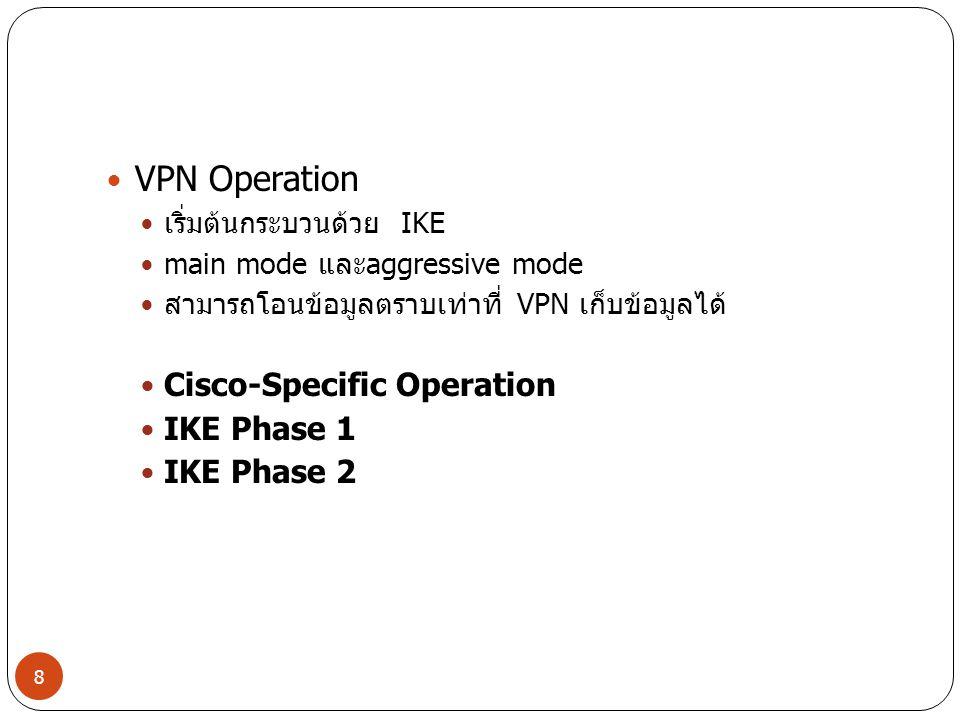 VPN Operation เริ่มต้นกระบวนด้วย IKE main mode และ aggressive mode สามารถโอนข้อมูลตราบเท่าที่ VPN เก็บข้อมูลได้ Cisco-Specific Operation IKE Phase 1 I