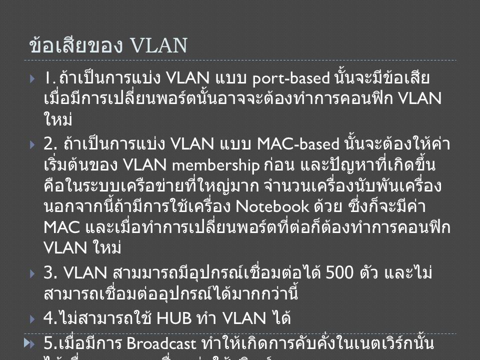 ข้อเสียของ VLAN  6.จำกัดอุปกรณ์เชื่อมต่อ VLAN มีอุปกรณ์เชื่อมต่อได้ 500 ตัว  7.