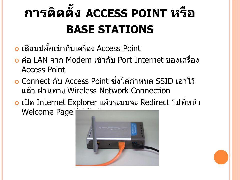 การติดตั้ง ACCESS POINT หรือ BASE STATIONS เสียบปลั๊กเข้ากับเครื่อง Access Point ต่อ LAN จาก Modem เข้ากับ Port Internet ของเครื่อง Access Point Conne