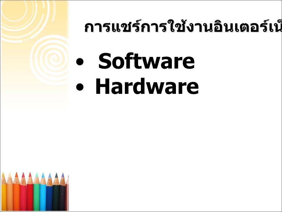 Software ในการแชร์การใช้งานอินเตอร์เน็ต Wingate เป็นโปรแกรม ที่นิยมใช้กันเป็น อย่างมากในตอนนี้ เพราะเป็นซอฟแวร์ที่ มี ราคาค่อนข้างถูก การแชร์การใช้งานอินเตอร์เน็ต