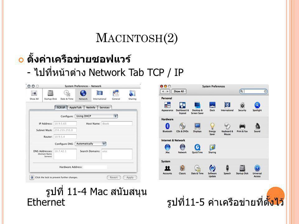 M ACINTOSH (2) ตั้งค่าเครือข่ายซอฟแวร์ - ไปที่หน้าต่าง Network Tab TCP / IP รูปที่ 11-4 Mac สนับสนุน Ethernet รูปที่ 11-5 ค่าเครือข่ายที่ตั้งไว้